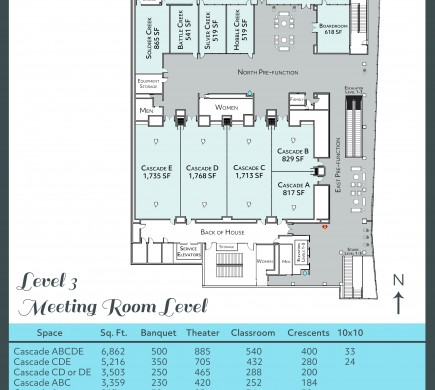 Diagram - 3rd floor Meeting Room Level of Convention Center