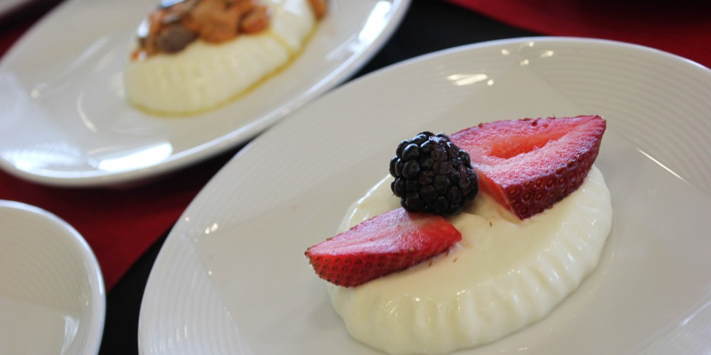 Pannacotta topped with fresh berries